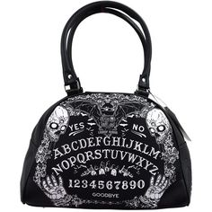 Liquorbrand Ouija Board Halloween Gothic Symbols Vampire Bat Black... ($50) ❤ liked on Polyvore featuring bags, handbags, gothic purse, gothic bags, hand bags, goth purse and goth bags