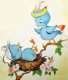 Awww, so cute! #bluebirds #vintage #illustrations