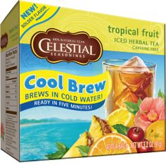 Tropical Fruit Cool Brew Iced Tea.  Our exchange student hadn't had iced tea, much less sweetened, flavored iced tea.  I like Celestial's raspberry cool brew tea. I use 10 tea bags per half gallon. Add 1/2 c honey. Easy peasy.