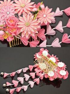 Hair Ornament Hairpin Crafted Knob Tsumami Kanzashi