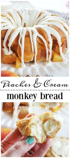An easy recipe for peaches and cream monkey bread, made with canned biscuits, fresh peaches and cream cheese. A great idea for breakfast, brunch or dessert! Easy Bread Recipes, Donut Recipes, Party Recipes, Pudding Recipes, Muffin Recipes, Brunch Recipes, Breakfast Recipes, Canned Biscuits, Monkey Bread