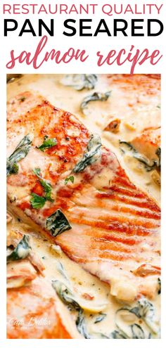 Treat your family to this Restaurant Quality Pan Seared Salmon Recipe! It will feel like the flavors of a night out with the comfort of a night in! Rich and creamy, crispy on the outside, tender and juicy on the inside salmon fillets. The entire family loves this deliciously easy to make Salmon recipe. The creamy sauce is to die for! #fishrecipes #salmon #healthydinnerrecipes Salmon Recipes, Fish Recipes, One Two Three, Cafe Delites, Pan Seared Salmon, Body Therapy, Hair Removal Methods, Make A Person, Body Treatments