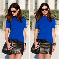 """""""I wore this outfit a few days ago and was completely melting away, I wore leather skirt, sandals and bag by Acne, top Zara, watch Tagheuer, bracelet J Dauphin, sunnies Ralph Lauren and the sand on my shoes are from Tuileries!"""" I love love LOVE this outfilt that the blogger wore."""