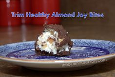 Trim Healthy Mama Almond Joy bites, chock full of healthy fats! Low carbs, gluten free, sugar free, coconutty bites of deliciousness! #THM 'S' dessert.