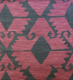 Kilim Woven Upholstery Fabric Heavy weight upholstery fabric in the style of a turkish rug, in black and plum