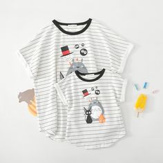 2017 Summer Mom and Baby Boy Matching Outfits Cartoon Printing Stripes Children Short-sleeved T-shirts Parental Clothes