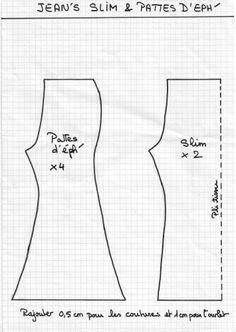 """Patrons jeans """"slim"""" et """"pattes d'eph"""" de nos Chéries"""
