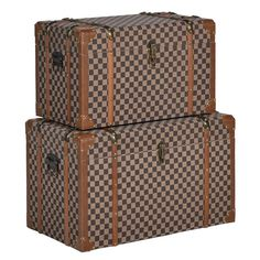 Add a dash of luxury to bedrooms with this set of Tan and Brown Damier…