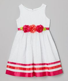 Love this White Ribbon Eyelet Dress - Toddler & Girls by Sweet Heart Rose on #zulily! #zulilyfinds