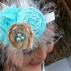 Aqua feather headband with lace and by LaurenAshlenBoutique