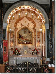 The Sanctuary of St. Philomena In Italy SHE IS SO VERY BEAUTIFUL IN REAL LIFE!! HER HEADSTONE & SARCHOPAGUS ARE OPPOSTIE OF HER!