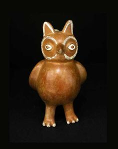 Moche Horned Owl Stirrup Vessel - PF.1864 Origin: Northern Coast of Peru Circa: 200 AD to 600 AD