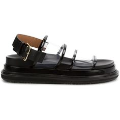 Marni 'Fussbett' transparent sandals (13.134.200 VND) ❤ liked on Polyvore featuring shoes, sandals, black, black leather sandals, slingback flat sandals, black slingback sandals, ankle strap sandals and black sandals