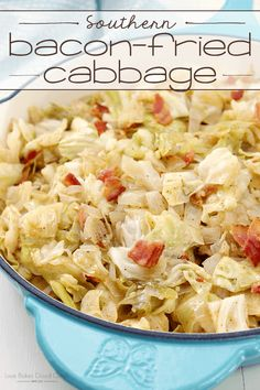This Southern Bacon-Fried Cabbage uses simple ingredients that combine perfectly to create a southern home cooked side dish that your family will love! via @bestblogrecipes