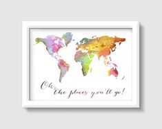 • Title: Oh, the Places youll Go! watercolor print • Paper : Heavy Matte (232 gsm) • Sizes: 5 x 7, or 8 x 10, or 11 x 14 with a white border for