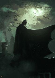 The Dark Knight by on DeviantArt Batman: I've carefully studied every Justice Leaguer's past and present and created contingency plans to neutralize you should that become necessary. Batman Poster, Batman Artwork, Batman Concept Art, Batman Wallpaper, Arte Dc Comics, Dc Comics Art, Batman The Dark Knight, Batman Gotham Knight, Batman Dark