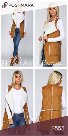 "Suede Vest Sleeveless Suede Vest  •Lambs Wool Lined Mustang Suede •Oversized Lapels with Open Front •Extra Long and Loose Fit •Two Front Pockets •95% Polyester 5% Viscose •Fur Lining is 100% Polyester Model is 5'10"" 34B-24-34 wearing size Small Jackets & Coats Vests"