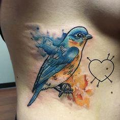 Super fun #watercolorbluebirdtattoo Thank you Amanda! #watercolortattoo #colortattoo #bluebirdtattoo #birdtattoo #bird #bostontattooartist #chrisreilly #reillyinks #empiretattooboston #empiretattooinc #inkedgirls #ink #tattoo #tatuage #cambridge #somerville #boston #tattoo #bostontattoo www.empiretattooinc.com
