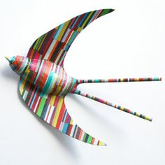 Set Of Three Flying Swallows, Stripy Swallow, http://www.polkadotsundays.com/