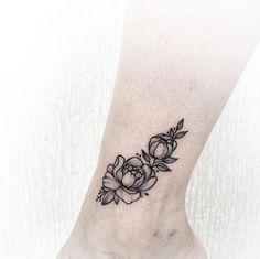 Peonies on ankle by Anna Bravo Russian Tattoo, Wrist Tattoos, Wrist Tattoo Cover Up, Tatoos, Black Tattoos, Mini Tattoos, New Tattoos, Tiny Flower Tattoos, Flower Tattoo On Ankle