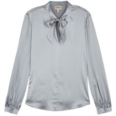 Armani Collezioni Grey Silk Satin Blouse - Size 18 (€390) ❤ liked on Polyvore featuring tops, blouses, stretch top, gray top, stretchy tops, silk satin top and armani collezioni