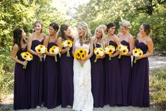 Purple Wedding Ideas - Eggplant Bridesmaid Dresses | Sunflower Themed Wedding
