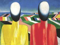 Kazimir Malevich, Peasants, c. 1930 . Oil on canvas, 53 x 70 cm.  State Russian Museum, St. Petersburg . Photo (c) 2016, State Russian Museum, St. Petersburg