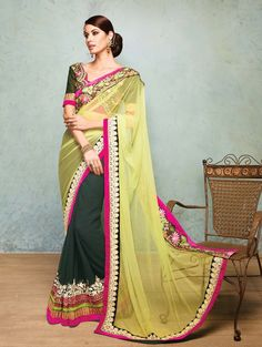 Light Green And Dark Green Net Saree With Resham And Zari Embroidery Work #wedding #saree