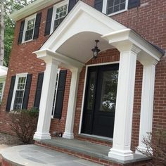 Ekena Millwork Endura Craftsman Classic Square Tapered Raised Panel Post Size: H x W House Front Porch, Front Porch Design, Porch Roof, Porch Awning, House Yard, Portico Entry, Entry Doors, Garage Doors, Barn Garage