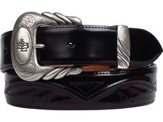Lucchese Men's Belt | Goat in Black Cherry | Seville Stitching #LuccheseBelts #LuccheseBoots