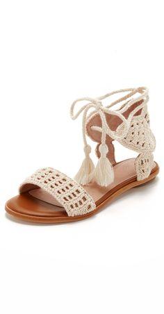 Bohemian inspired crochet sandals with tassel detail. Joie Jolee Sandals