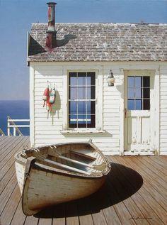 """Boat on Dock"" shabby chic cottage beach seaside bungalow Coastal Cottage, Coastal Homes, Coastal Style, Coastal Living, White Cottage, Tiny Living, Modern Living, House By The Sea, Beach Shack"