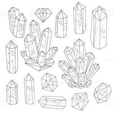 Gems, crystals line art vector Сток Вектор Стоковая фотография