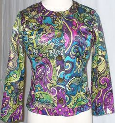 NWOT Chico's 1 M Paisley Floral Blazer Jacket Turquoise Pink Yellow Purple Black #Chicos #Blazer