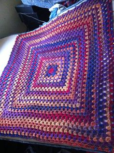 Blanket being blocked. Present for my big sister.