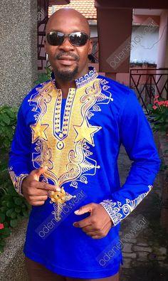 African Clothing / Odeneho Wear Men's Blue Polished by Odenehowear