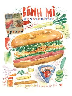 Vietnamese sandwich Banh Mi watercolor recipe print