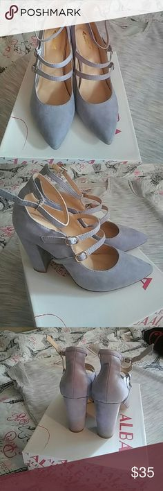 Cute gray heels worn one time These are very comfortable and beautiful Shoes Heels