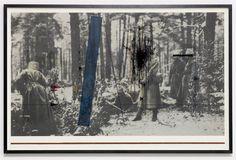 Seb Patane, Carpathian Walk, 2009. Ballpoint Pen & Enamel on Printed Paper. 27 x 40 inches