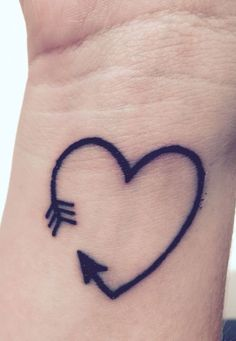 15 Amazing Arrow Tattoos for Females: . Heart Arrow Tattoo on wrist – A cute tiny heart tattoo for girls; Tiny Heart Tattoos, Mini Tattoos, New Tattoos, Tattoos For Guys, Bible Tattoos, Arrow Tattoos For Women, Small Arrow Tattoos, Tattoo Women, Tattoo Quotes