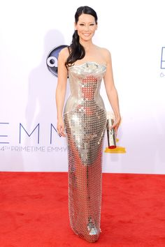 Lucy Liu in Versace at the 2012 Primetime Emmys.  Chainmail and metal = an awesome dress.