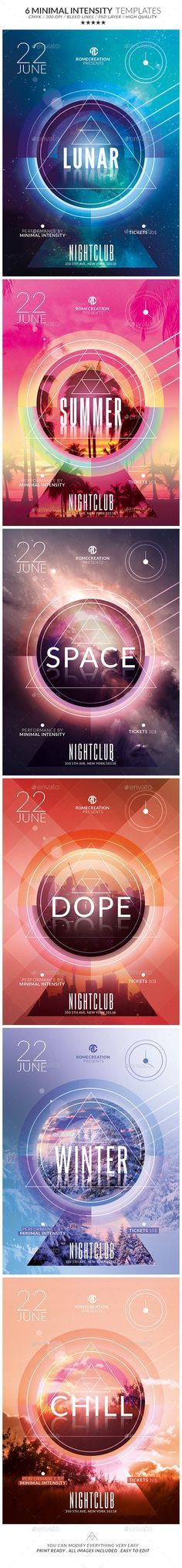 x6 Minimal Intensity / Flyer Psd Templates Pack / Print Ready !!!  - Available on #envatomarket #graphicriver #template #minimal #flyer #poster #romecreation