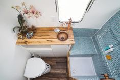 Airstream Bathroom, Rv Bathroom, Airstream Interior, Tiny House Bathroom, Bathroom Storage, Washroom, Airstream Living, Airstream Remodel, Camper Renovation