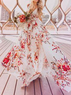 9bd643534b1c Bohemia Floral V-Neck Waisted Maxi Dress