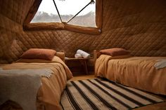 Fleece sheets and thick duvets to keep warm while the Patagonian wind rages outside http://www.ecocamp.travel/Domes/Standard