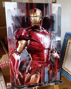 Artwork from the Marvel universe. Iron Man Art, New Iron Man, Marvel Canvas, Marvel Art, Iron Man Wallpaper, Marvel Wallpaper, Avengers Painting, Iron Man Drawing, Marvel Paintings