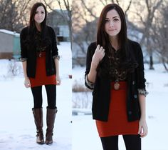 layering winter black with pop of bright