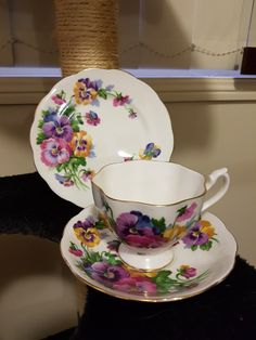 QUEEN ANNE ~ Pansies Queen Anne, Pansies, Tea Cups, China, Tableware, Collection, Dinnerware, Dishes, Tea Cup
