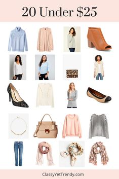 Do you want to add a few trendy items to your closet, but don't want to spend much money? Do you need to add a few essentials to your capsule wardrobe, but need to stick to your budget? I found 20 trendy items, all under $25 each! Several of these items would make great Winter to Spring...