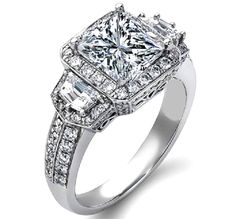 Lots of little diamonds, thick band, square focal diamond.